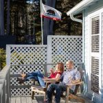 Couple sitting on the deck