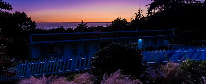 purple and orange mendocino sunset at inn at schoolhouse creek